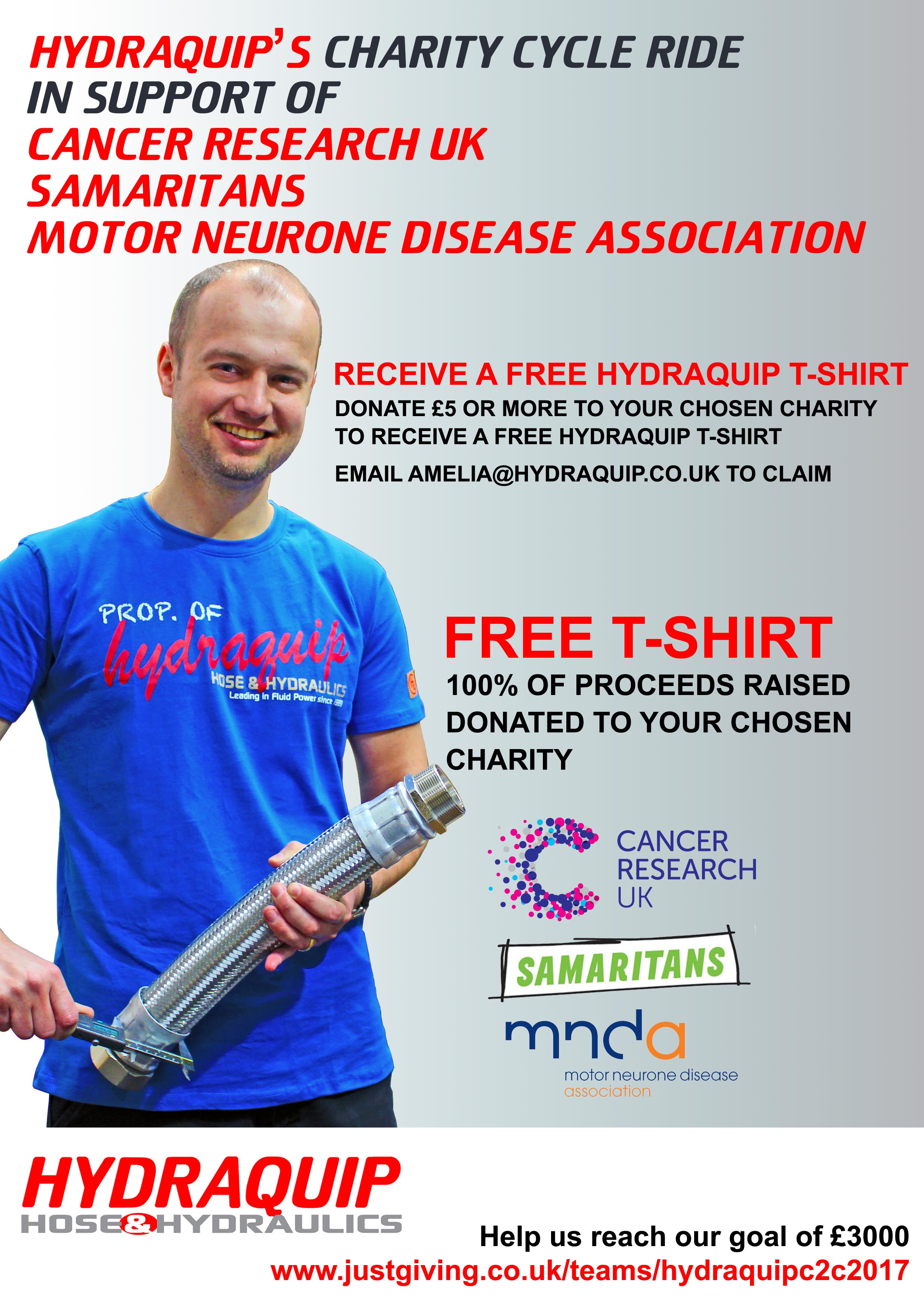 Hydraquip are raising money for cancer research uk for Motor neurone disease support